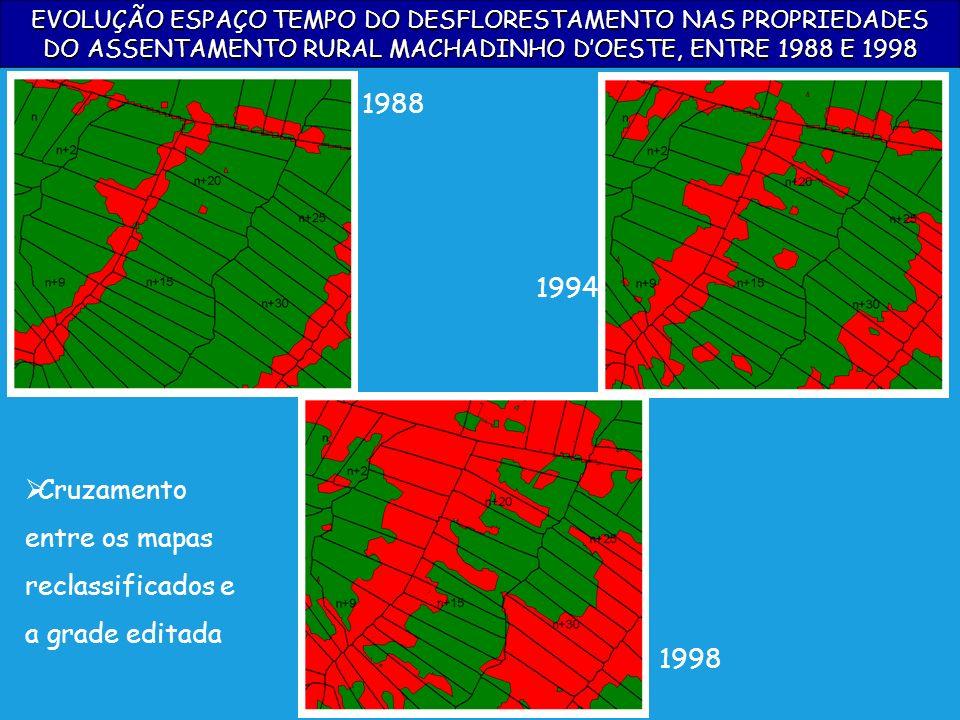 Cruzamento entre os mapas reclassificados e a grade editada