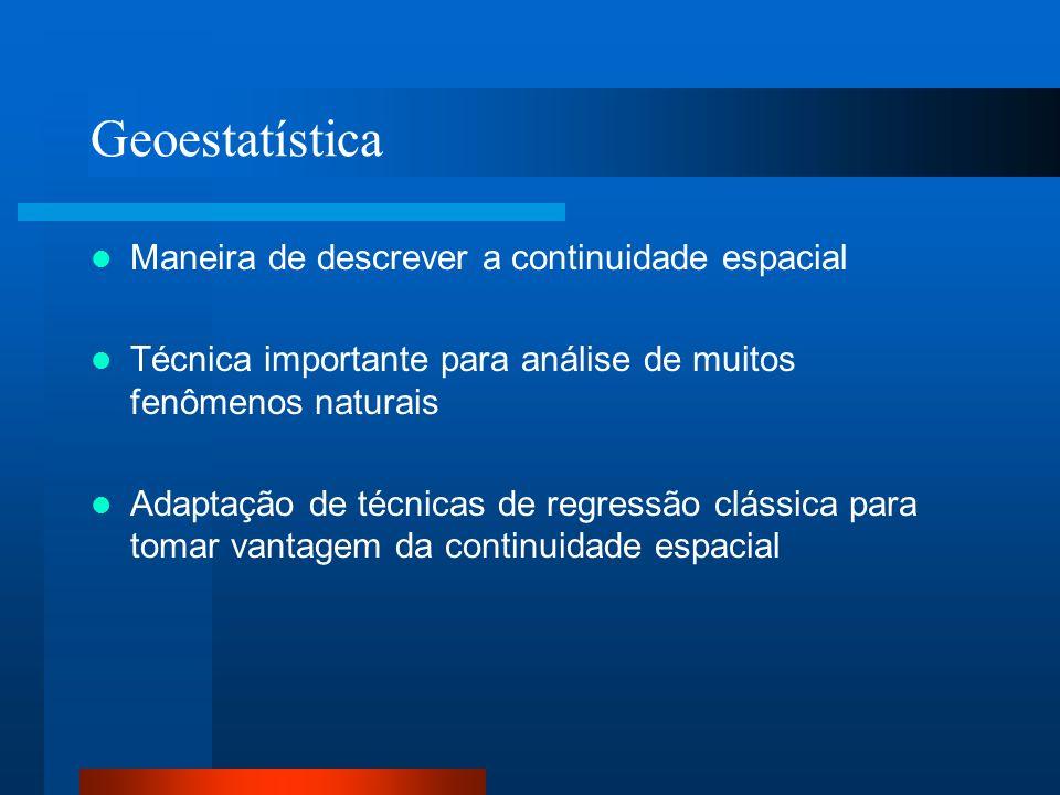 Geoestatística Maneira de descrever a continuidade espacial