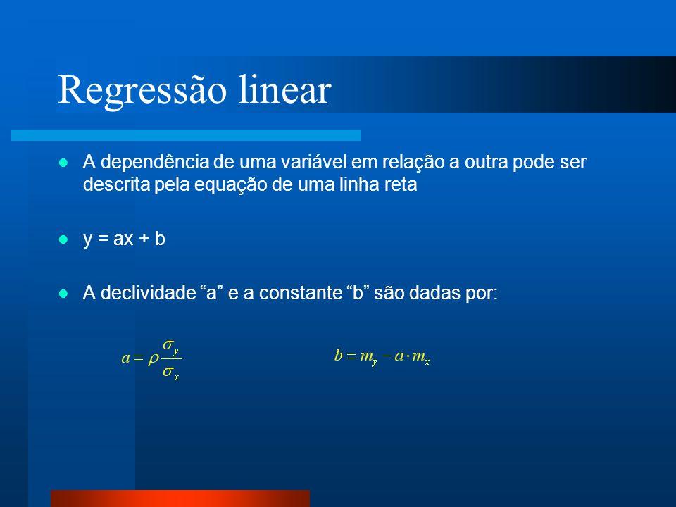Regressão linear A dependência de uma variável em relação a outra pode ser descrita pela equação de uma linha reta.