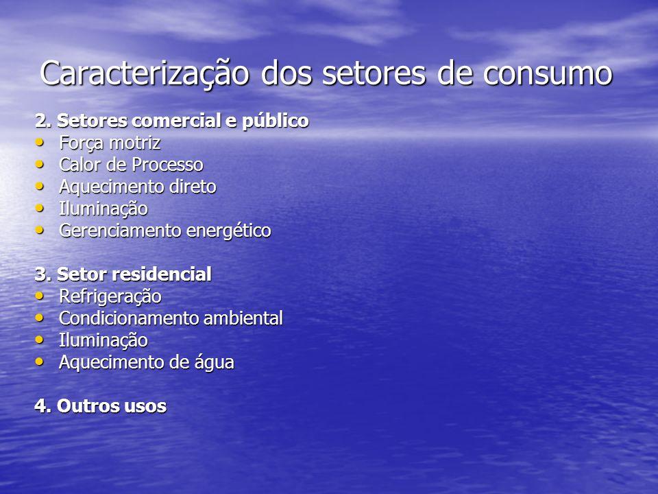 Caracterização dos setores de consumo
