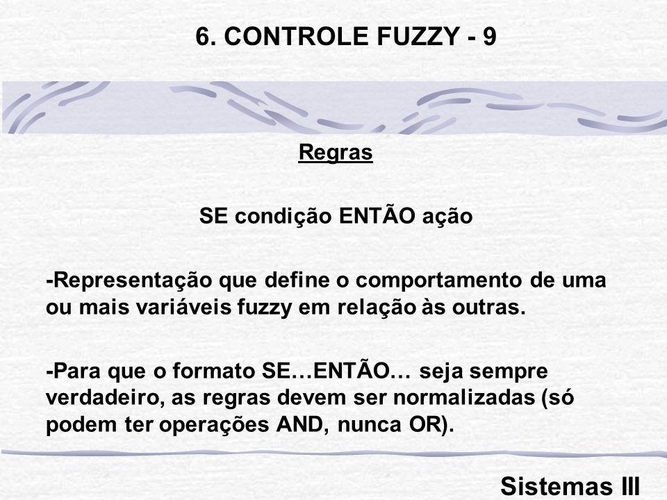 6. CONTROLE FUZZY - 9 Sistemas III Regras SE condição ENTÃO ação