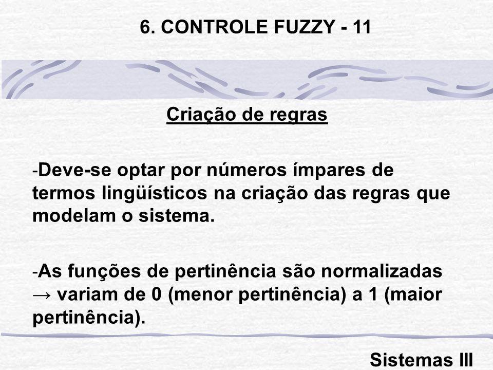 6. CONTROLE FUZZY - 11 Criação de regras. Deve-se optar por números ímpares de termos lingüísticos na criação das regras que modelam o sistema.