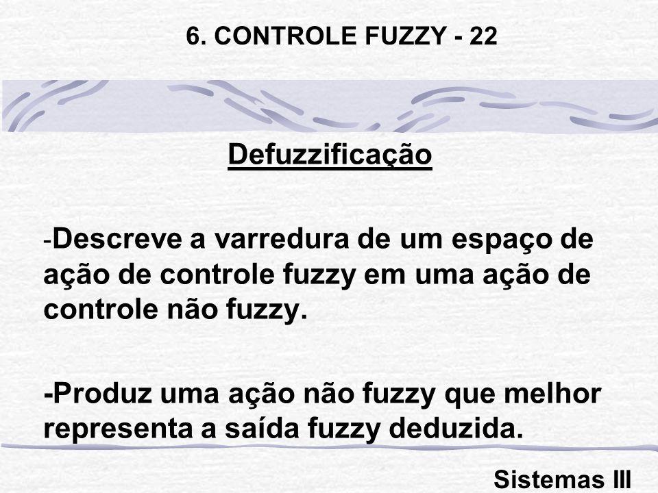 6. CONTROLE FUZZY - 22 Defuzzificação. Descreve a varredura de um espaço de ação de controle fuzzy em uma ação de controle não fuzzy.