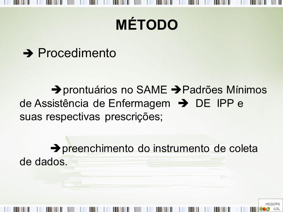 MÉTODO  Procedimento. prontuários no SAME Padrões Mínimos de Assistência de Enfermagem  DE IPP e suas respectivas prescrições;