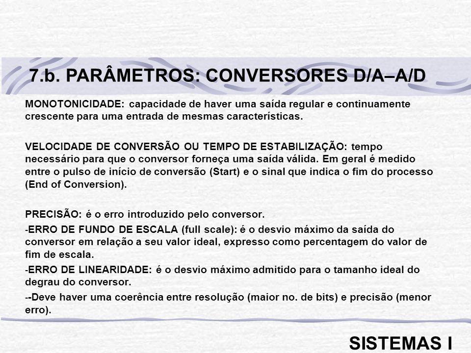 7.b. PARÂMETROS: CONVERSORES D/A–A/D