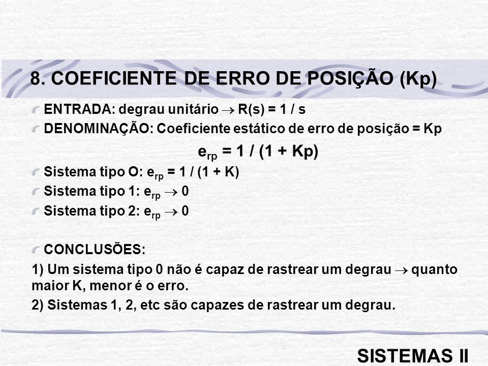 8. COEFICIENTE DE ERRO DE POSIÇÃO (Kp)