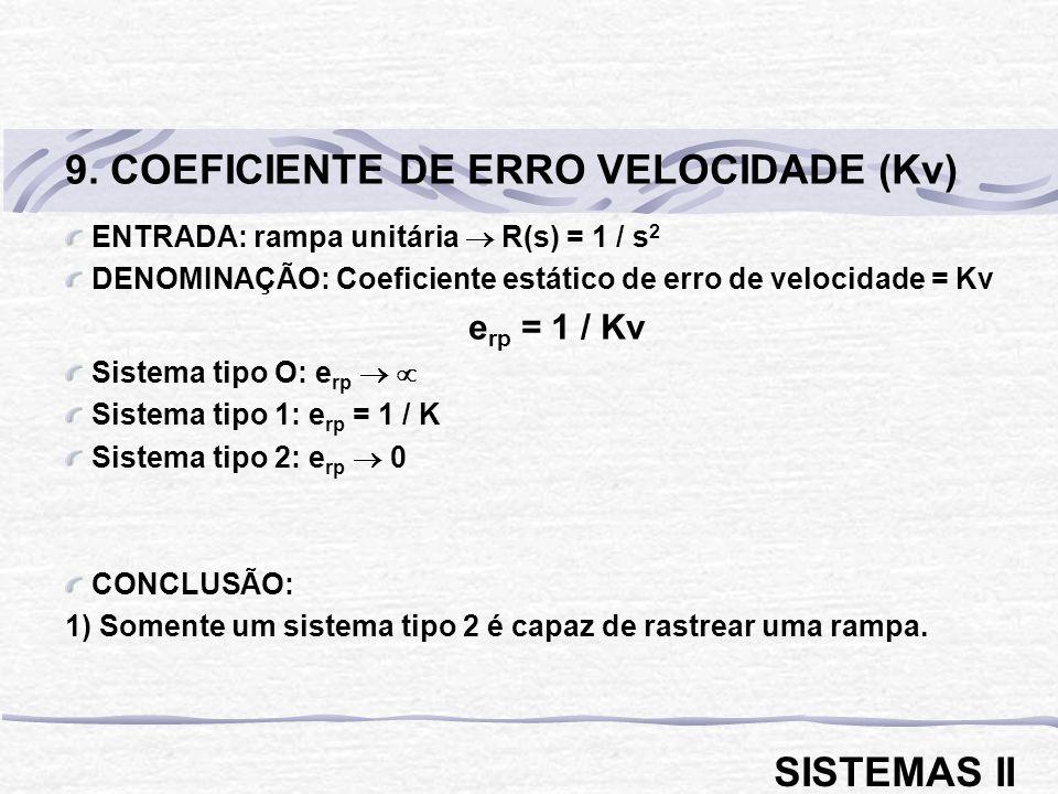 9. COEFICIENTE DE ERRO VELOCIDADE (Kv)