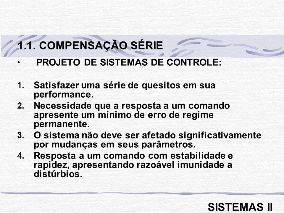 1.1. COMPENSAÇÃO SÉRIE SISTEMAS II PROJETO DE SISTEMAS DE CONTROLE: