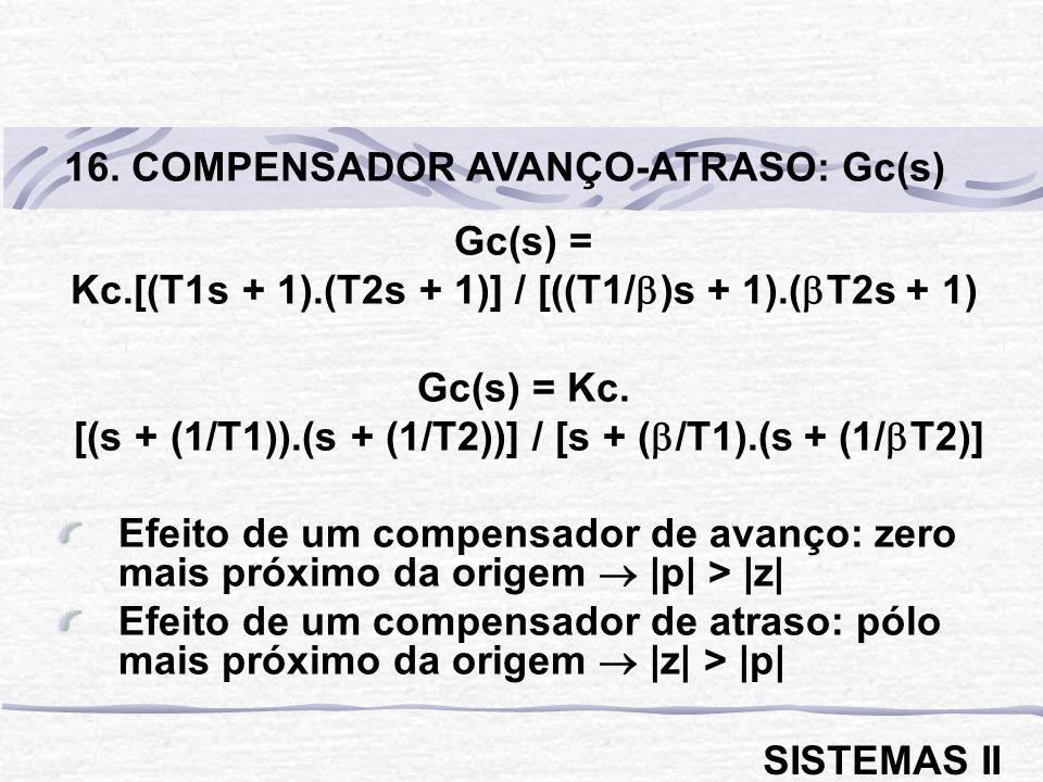 16. COMPENSADOR AVANÇO-ATRASO: Gc(s)