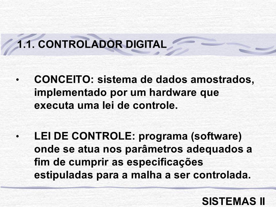 1.1. CONTROLADOR DIGITAL CONCEITO: sistema de dados amostrados, implementado por um hardware que executa uma lei de controle.