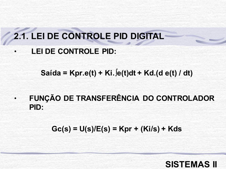 2.1. LEI DE CONTROLE PID DIGITAL