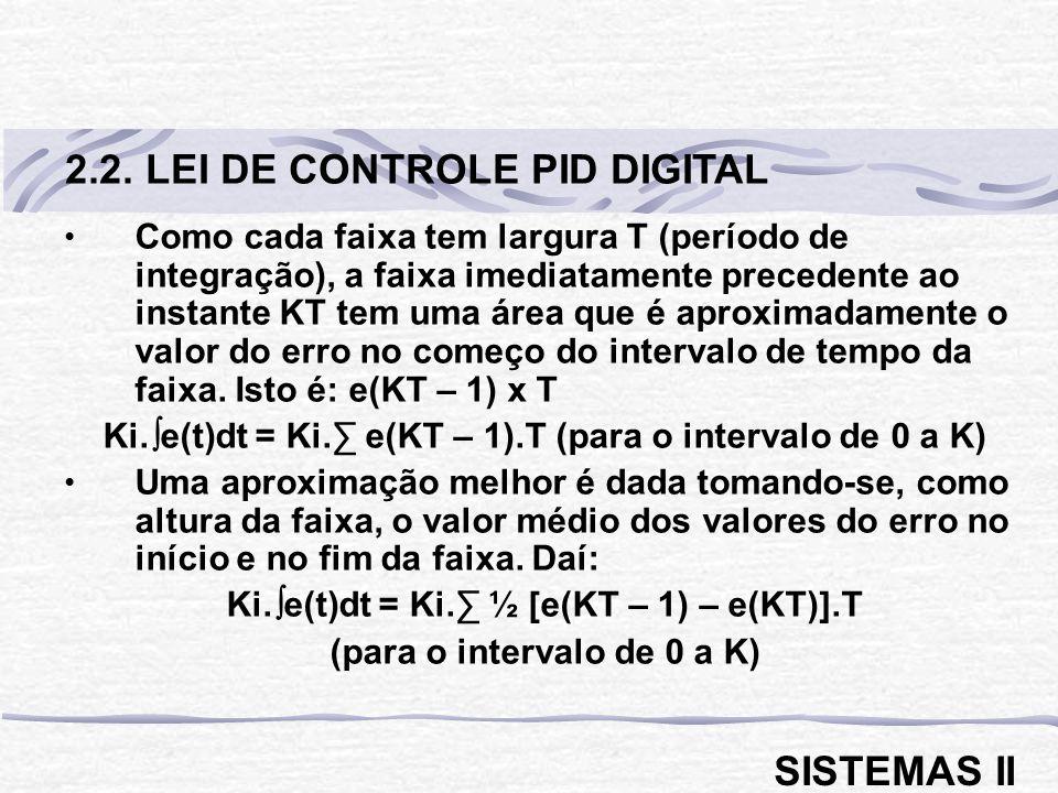 2.2. LEI DE CONTROLE PID DIGITAL