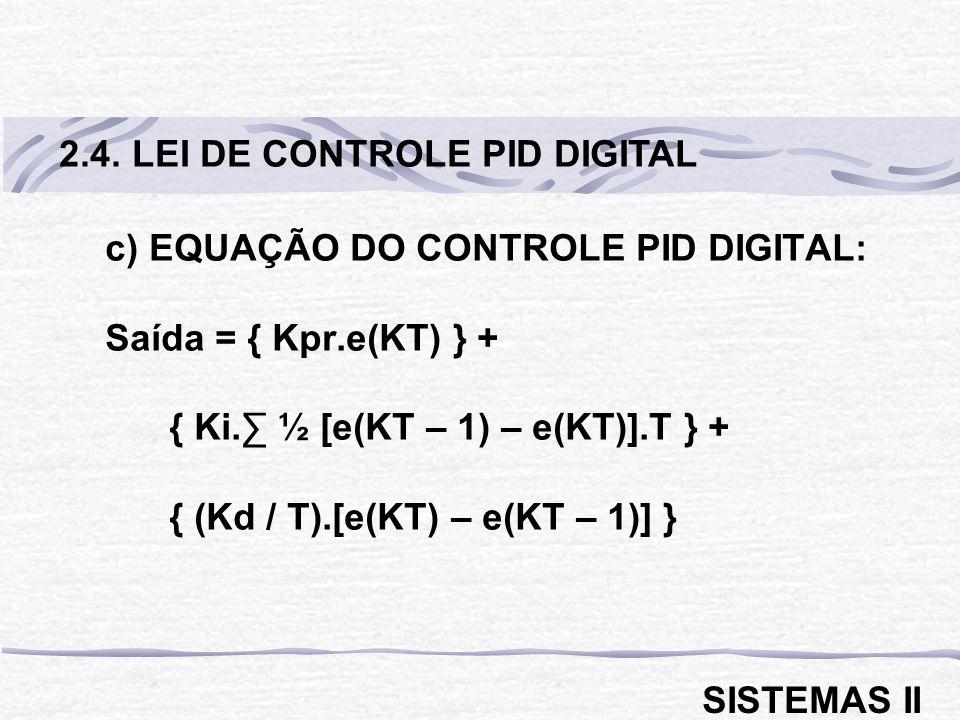 2.4. LEI DE CONTROLE PID DIGITAL