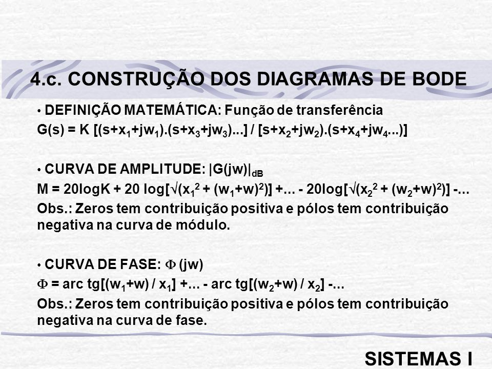 4.c. CONSTRUÇÃO DOS DIAGRAMAS DE BODE