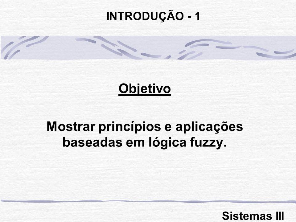 Objetivo Mostrar princípios e aplicações baseadas em lógica fuzzy.