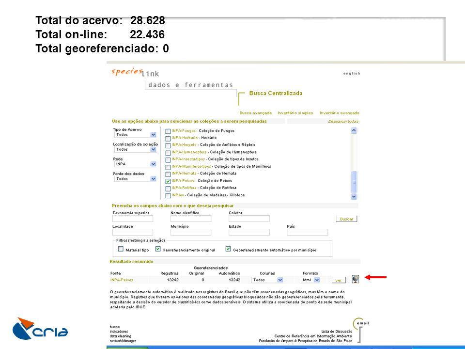 Total do acervo: 28.628 Total on-line: 22.436 Total georeferenciado: 0