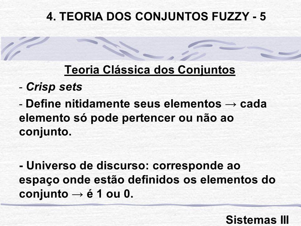 4. TEORIA DOS CONJUNTOS FUZZY - 5 Teoria Clássica dos Conjuntos