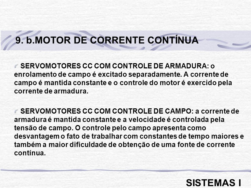 9. b.MOTOR DE CORRENTE CONTÍNUA