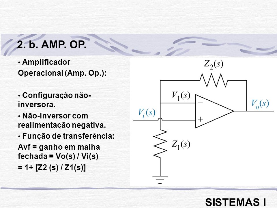 2. b. AMP. OP. SISTEMAS I Amplificador Operacional (Amp. Op.):