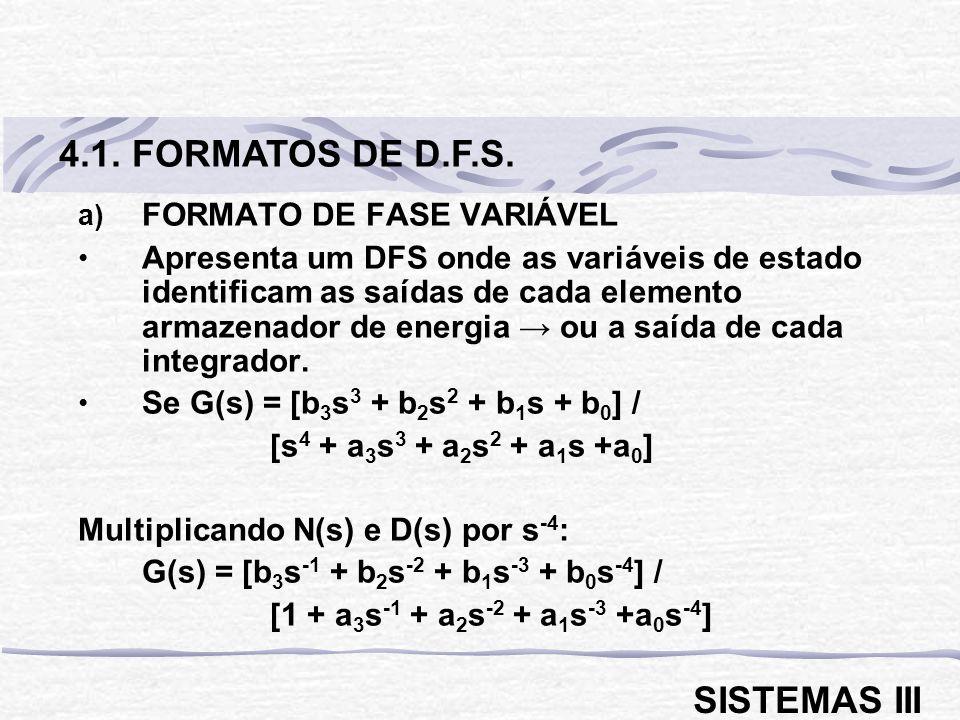 4.1. FORMATOS DE D.F.S. SISTEMAS III FORMATO DE FASE VARIÁVEL