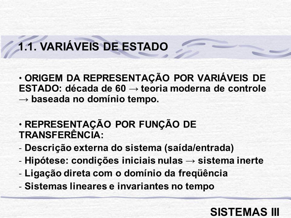 1.1. VARIÁVEIS DE ESTADO SISTEMAS III