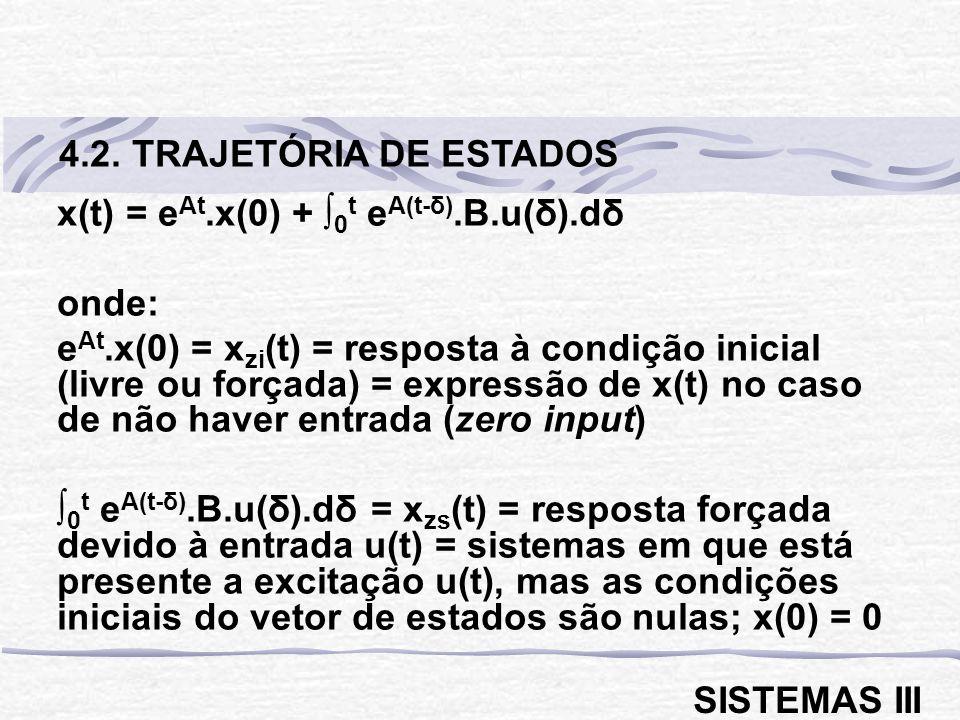 4.2. TRAJETÓRIA DE ESTADOS x(t) = eAt.x(0) + ∫0t eA(t-δ).B.u(δ).dδ. onde: