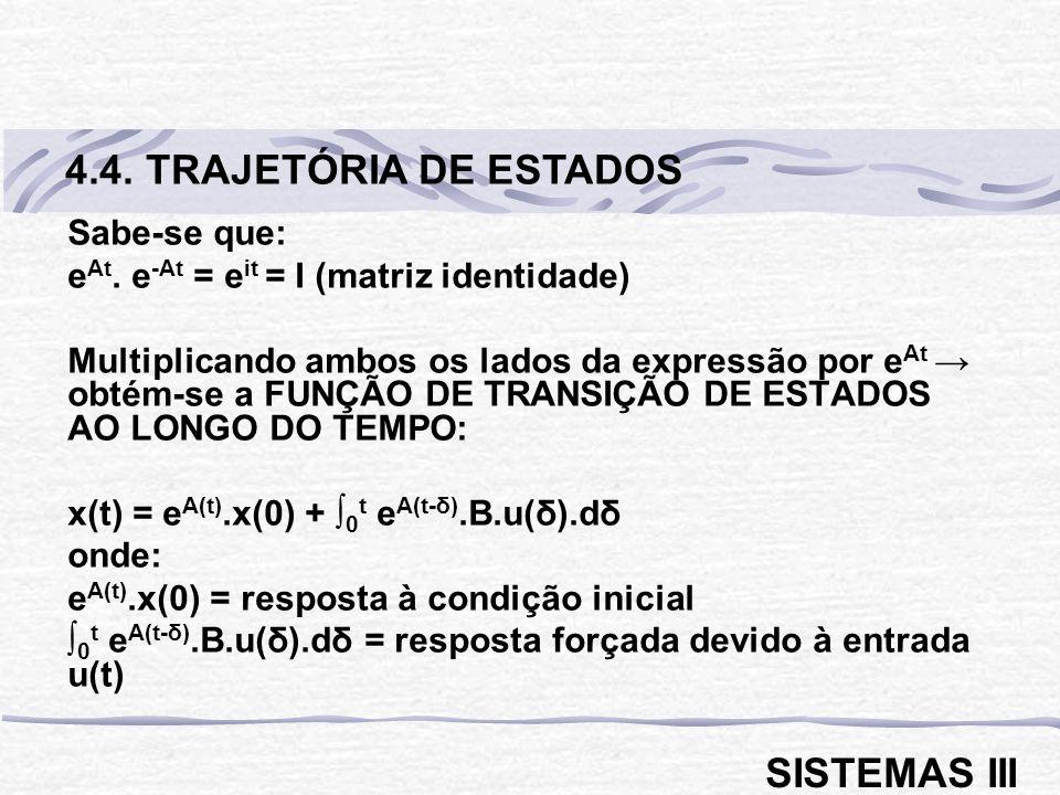 4.4. TRAJETÓRIA DE ESTADOS SISTEMAS III Sabe-se que: