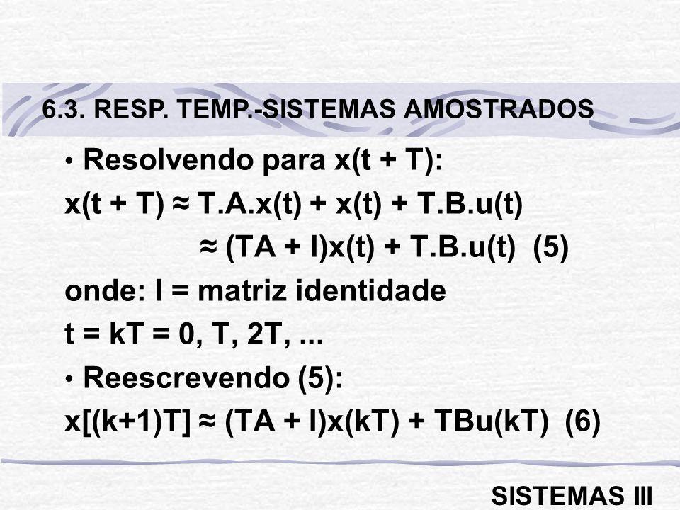 Resolvendo para x(t + T): x(t + T) ≈ T.A.x(t) + x(t) + T.B.u(t)