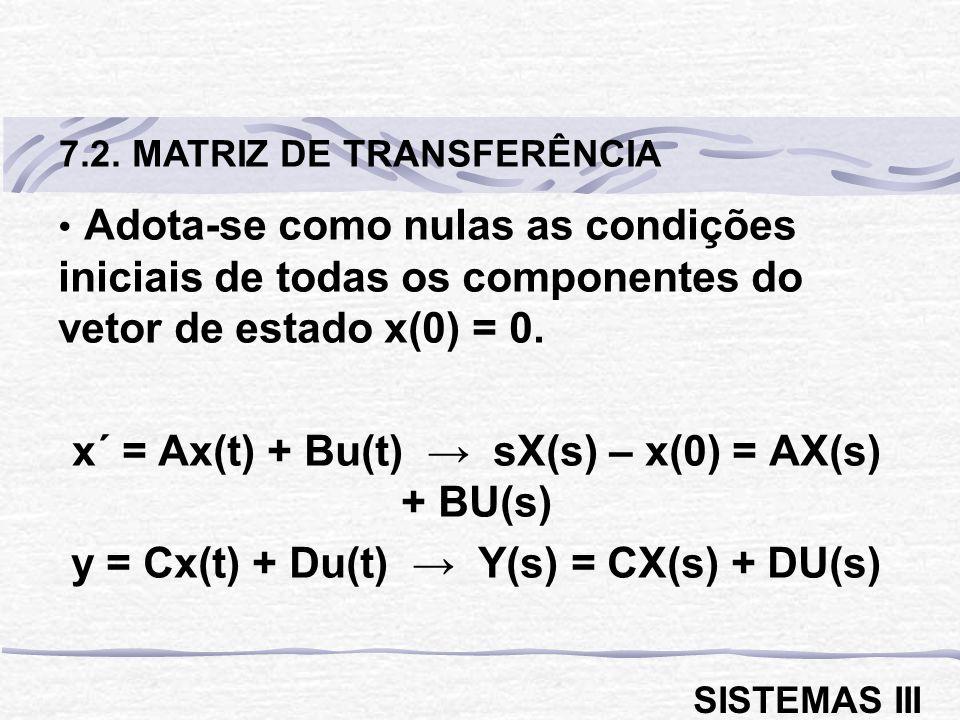 x´ = Ax(t) + Bu(t) → sX(s) – x(0) = AX(s) + BU(s)
