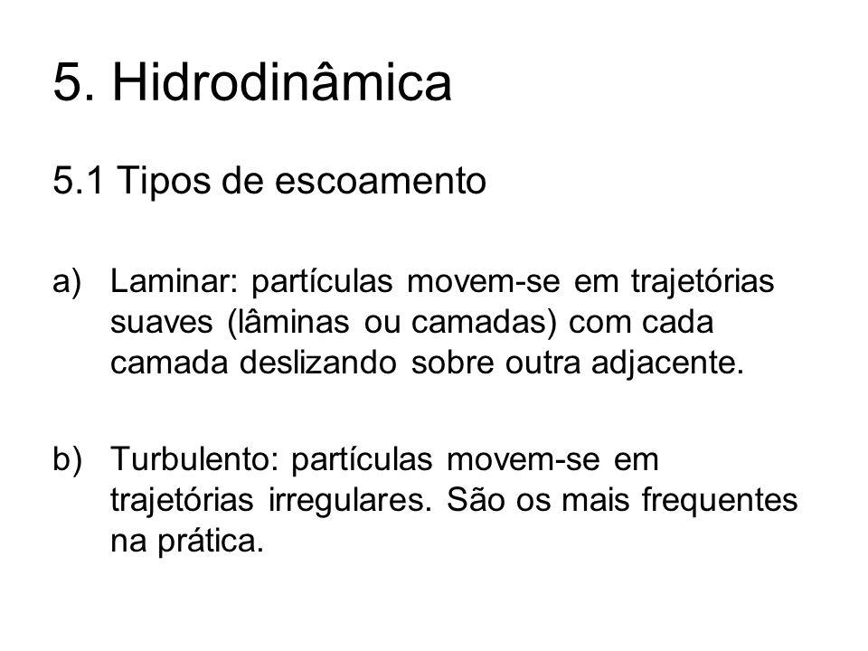 5. Hidrodinâmica 5.1 Tipos de escoamento