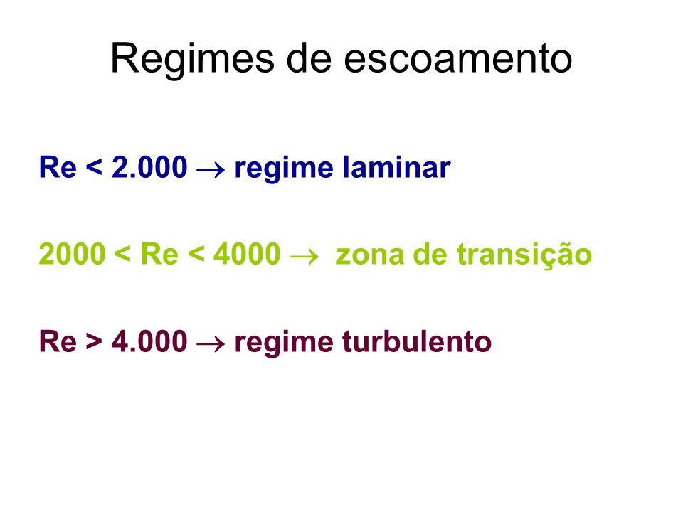 Regimes de escoamento Re < 2.000  regime laminar