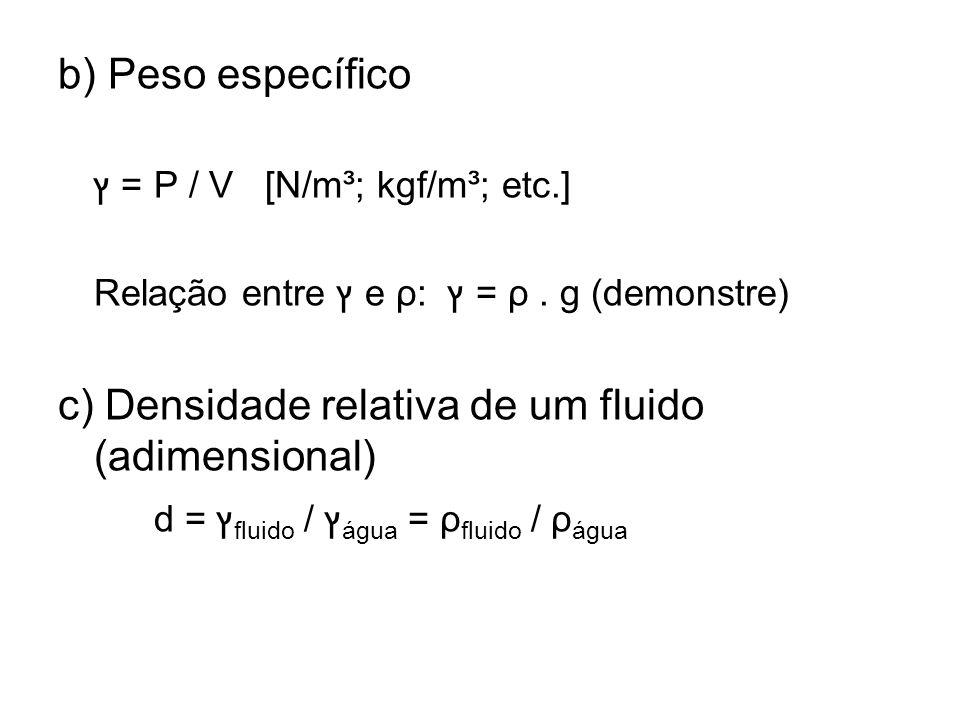 c) Densidade relativa de um fluido (adimensional)