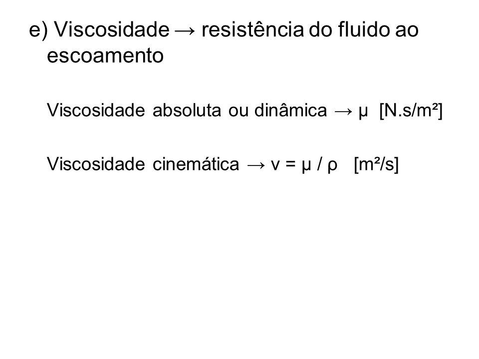e) Viscosidade → resistência do fluido ao escoamento