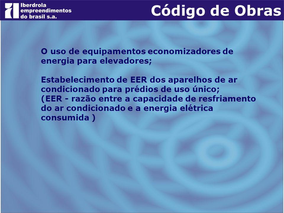 Código de Obras O uso de equipamentos economizadores de energia para elevadores;