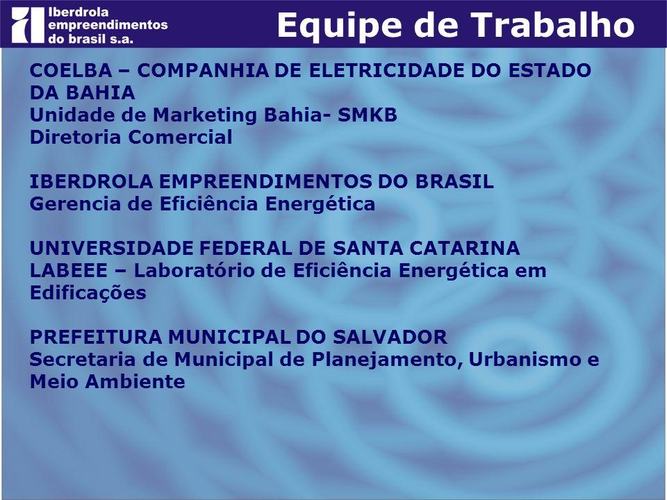Equipe de Trabalho COELBA – COMPANHIA DE ELETRICIDADE DO ESTADO DA BAHIA. Unidade de Marketing Bahia- SMKB.