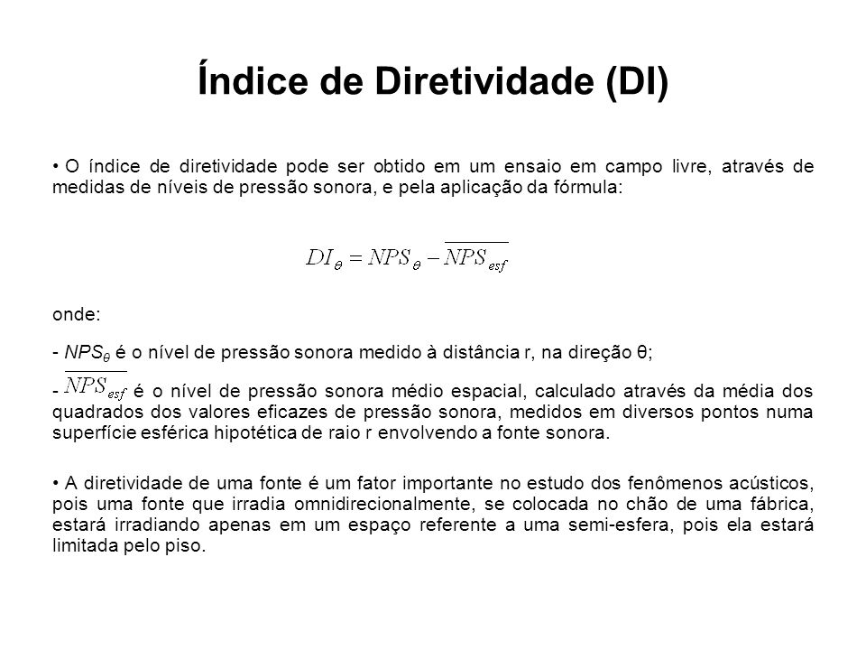 Índice de Diretividade (DI)