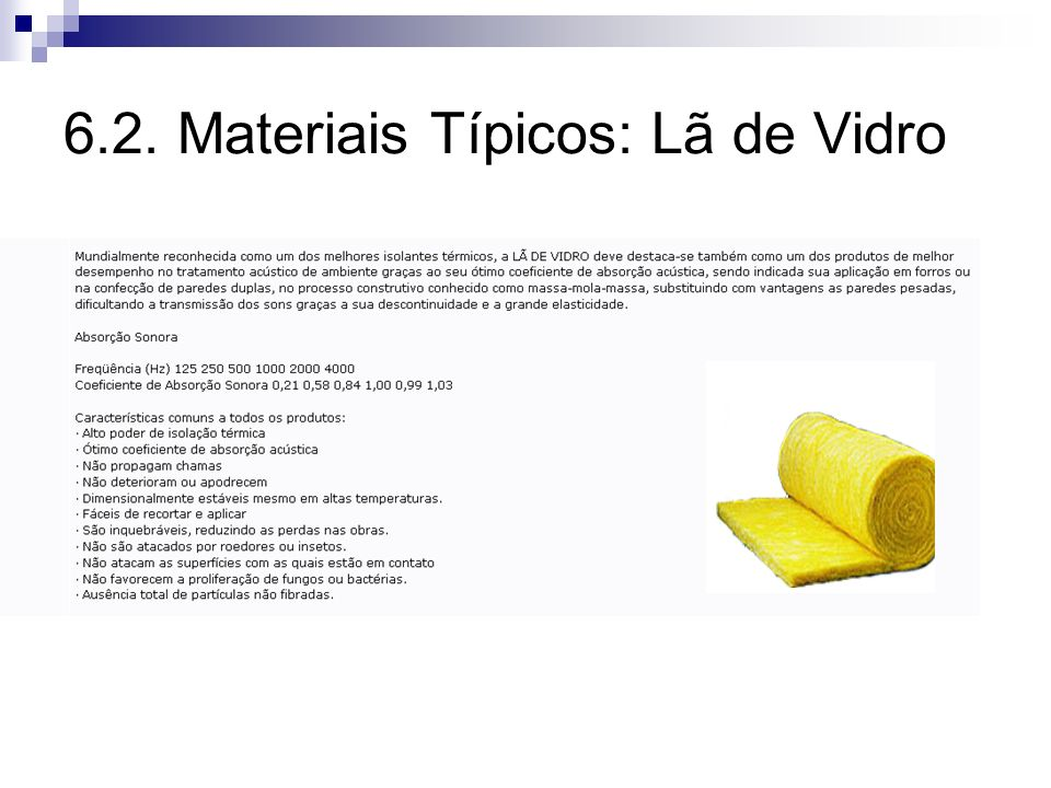 6.2. Materiais Típicos: Lã de Vidro