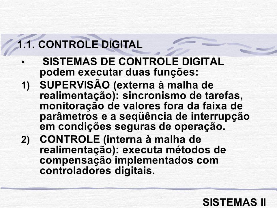 1.1. CONTROLE DIGITAL SISTEMAS DE CONTROLE DIGITAL podem executar duas funções: