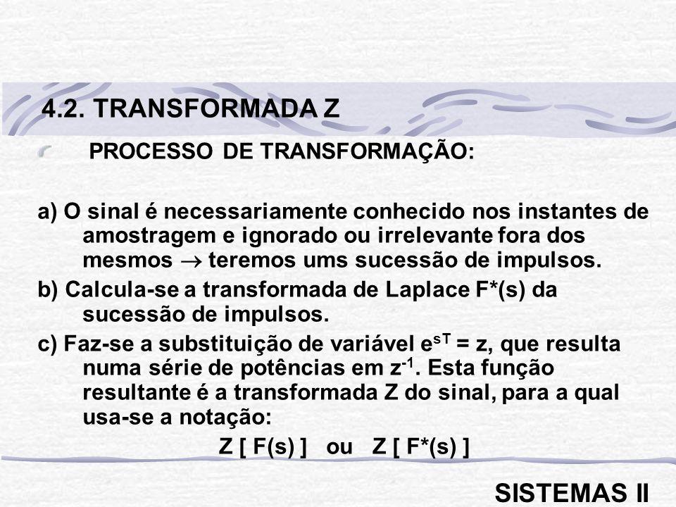 4.2. TRANSFORMADA Z SISTEMAS II PROCESSO DE TRANSFORMAÇÃO: