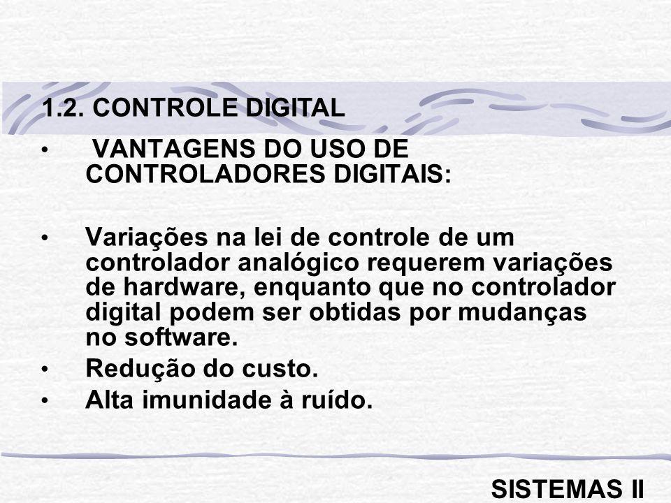 1.2. CONTROLE DIGITAL VANTAGENS DO USO DE CONTROLADORES DIGITAIS: