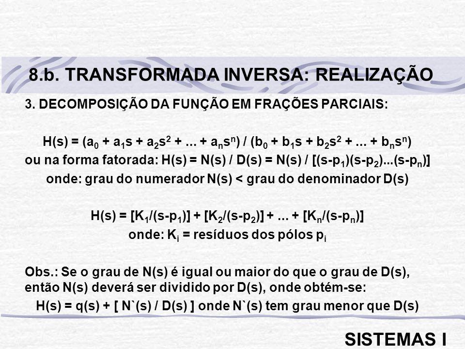 8.b. TRANSFORMADA INVERSA: REALIZAÇÃO