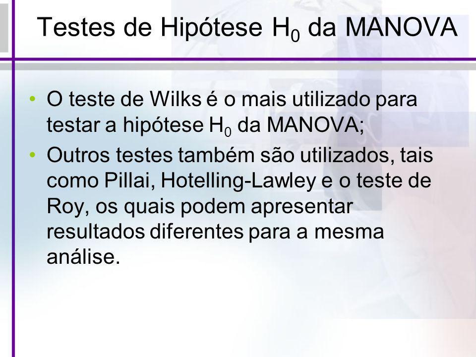 Testes de Hipótese H0 da MANOVA