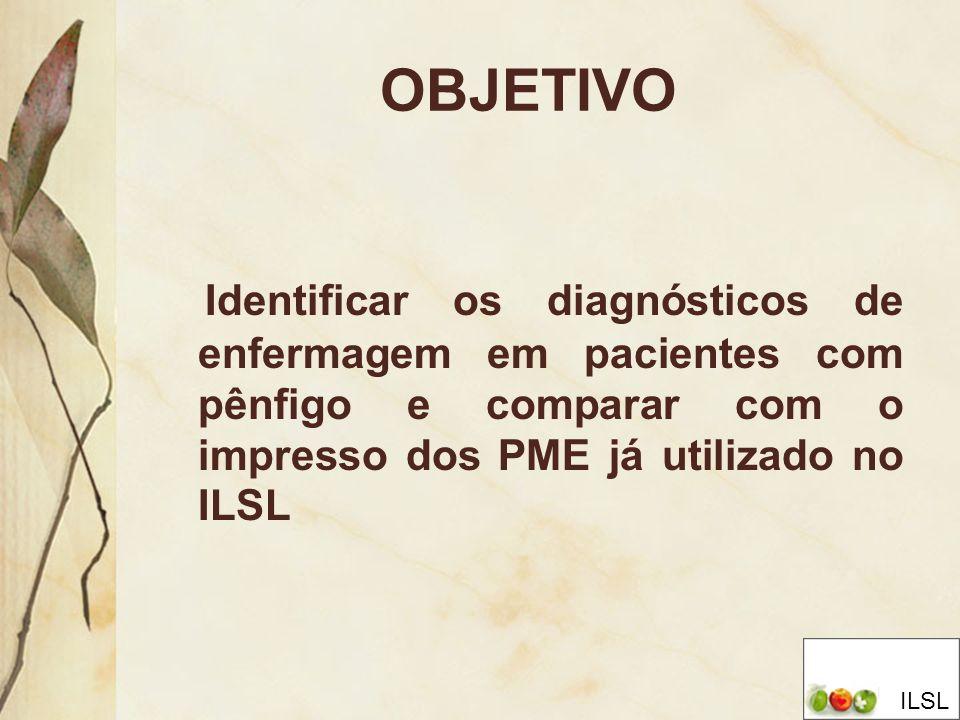 OBJETIVO Identificar os diagnósticos de enfermagem em pacientes com pênfigo e comparar com o impresso dos PME já utilizado no ILSL.