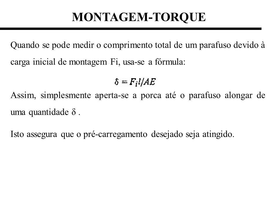 MONTAGEM-TORQUE Quando se pode medir o comprimento total de um parafuso devido à carga inicial de montagem Fi, usa-se a fórmula: