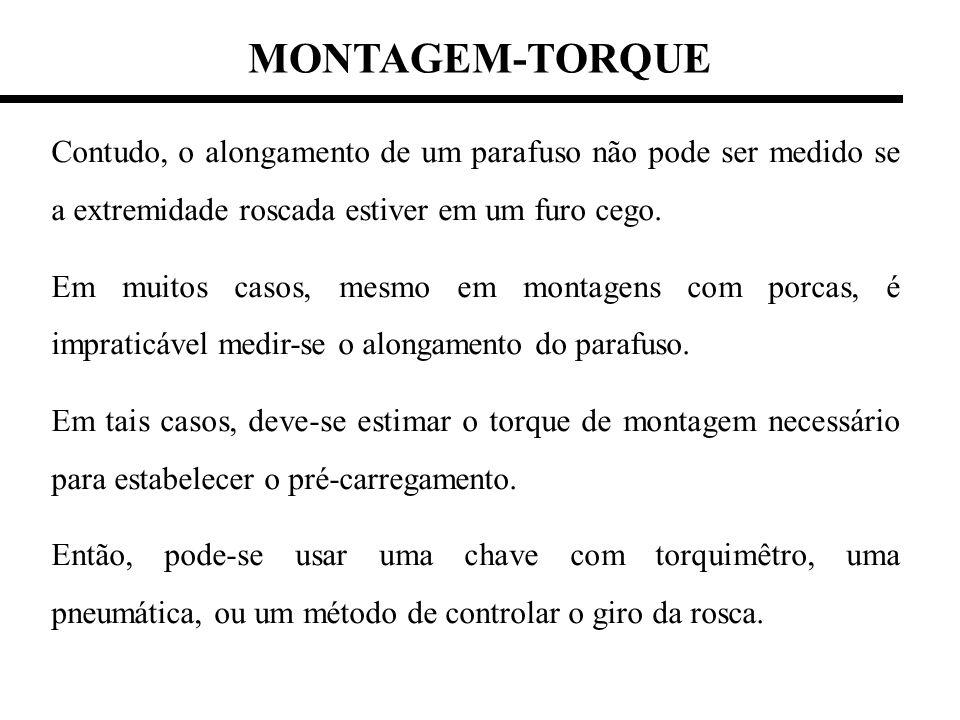 MONTAGEM-TORQUE Contudo, o alongamento de um parafuso não pode ser medido se a extremidade roscada estiver em um furo cego.