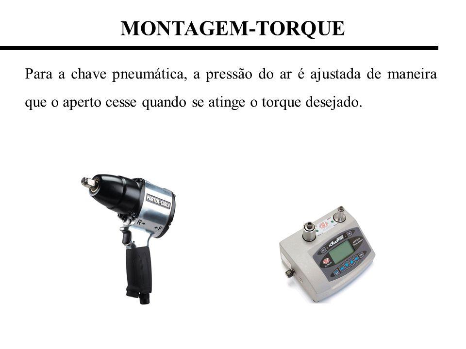 MONTAGEM-TORQUE Para a chave pneumática, a pressão do ar é ajustada de maneira que o aperto cesse quando se atinge o torque desejado.