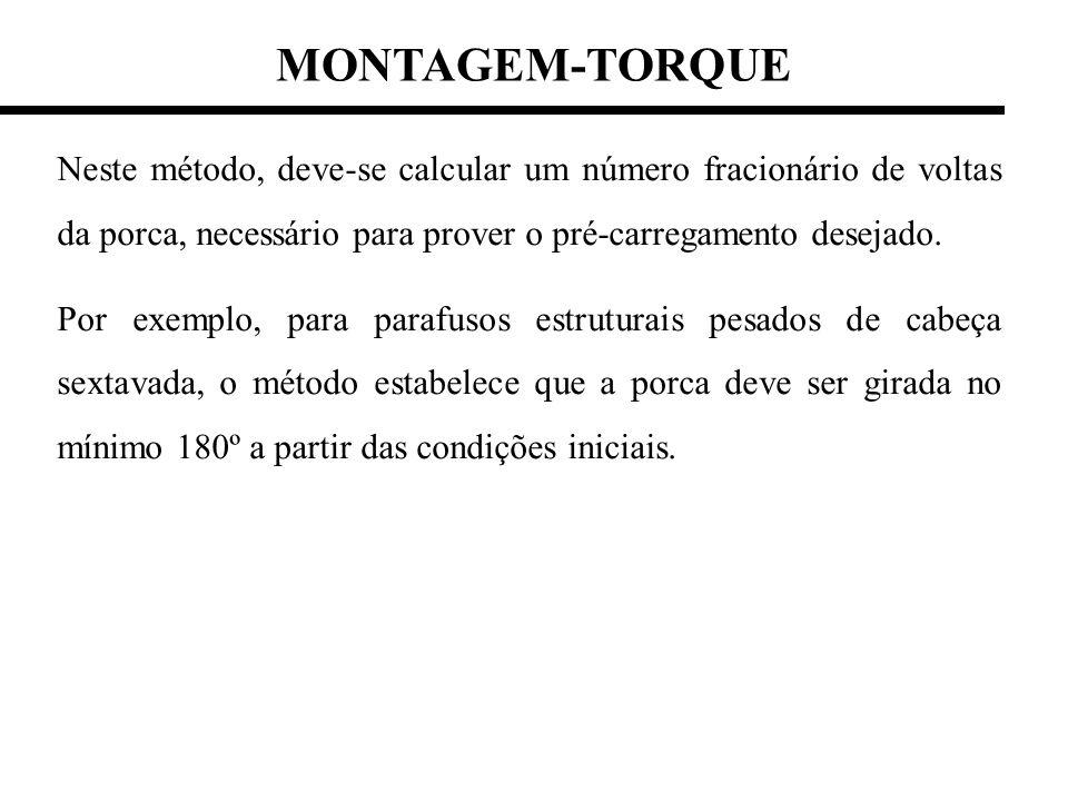 MONTAGEM-TORQUE Neste método, deve-se calcular um número fracionário de voltas da porca, necessário para prover o pré-carregamento desejado.