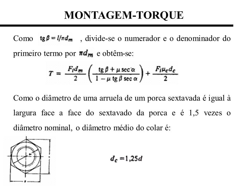 MONTAGEM-TORQUE Como , divide-se o numerador e o denominador do primeiro termo por e obtêm-se: