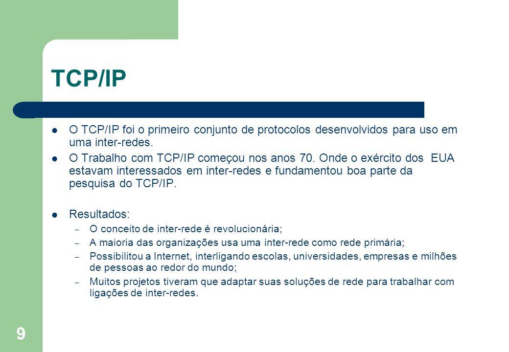 TCP/IP O TCP/IP foi o primeiro conjunto de protocolos desenvolvidos para uso em uma inter-redes.