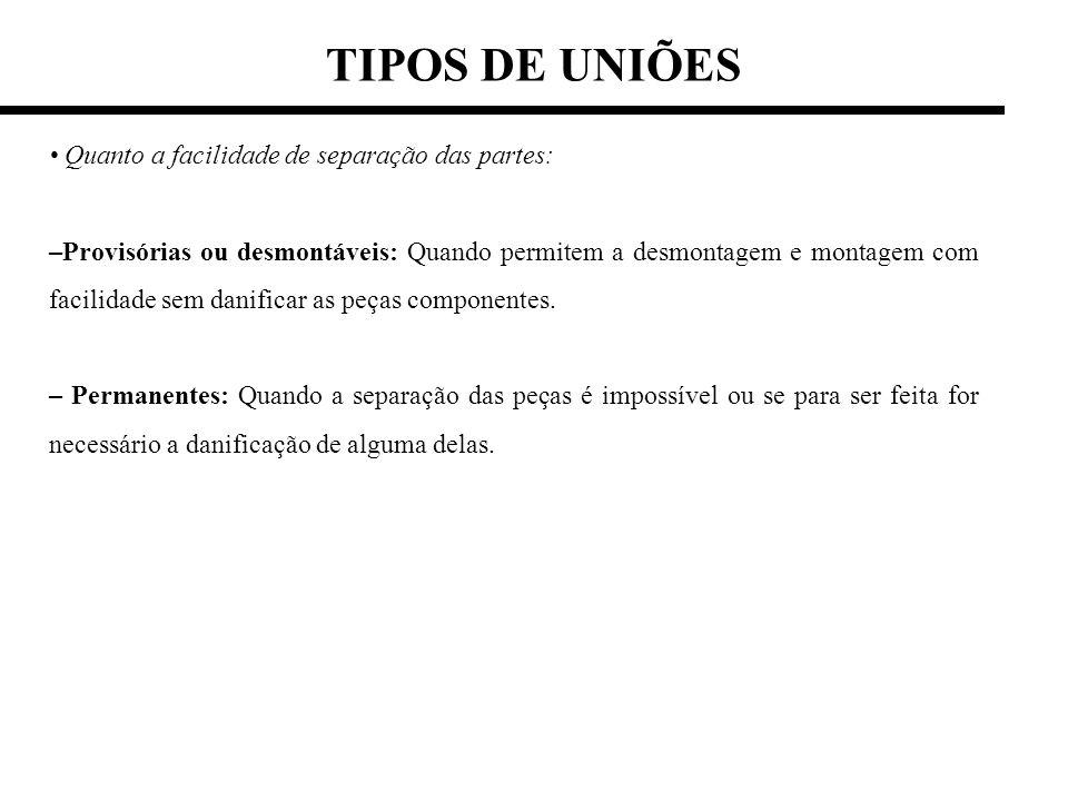TIPOS DE UNIÕES • Quanto a facilidade de separação das partes: